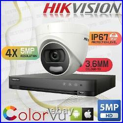 4k Colourvu Hikvision 5mp Cctv Dvr Dome Cameras Ds-2ce72hft-f Ip67 20m Ir System
