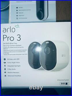 Arlo Pro 3 2k WiFi Security Camera System 2 Cameras White