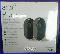 Arlo Pro 3 2k WiFi Security Camera System with 2 Cameras White