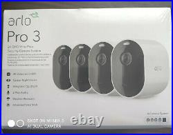 Arlo Pro 3 2k WiFi Security Camera System with 4 Cameras White Sealed