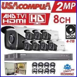 HIKVISION 8 CAMERAS SECURITY SYSTEM KIT 4TB UHD-4K DVR 8 Ch 2.8MM IR 40M BULLET