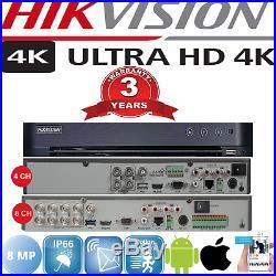 Hikvision 4 / 8 Ch Ds-7204huhi-k1 4k Uhd 5mp 2.8-12mm Night Vision Cctv Bundle