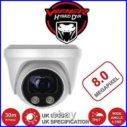 Hikvision 8mp 8ch Dvr Cctv Viper Pro 8mp 4k Night Vision Cameras System Kit Uk
