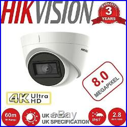 Hikvision Cctv System 4k 8mp Camera 8ch Dvr 60m Ir Video Cctv Security Bundle Uk