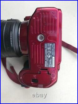 Nikon d3200 digital camera with 18-55 mm lens, red colour