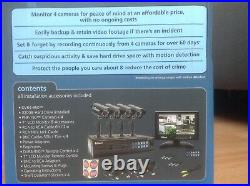 Swann colour security camera CCTV system 4 black cameras monitor included