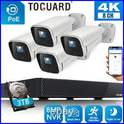 TOGUARD 4K PoE NVR Security Camera System 4x Wired 8MP IP Camera NightVision 3TB