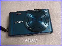 Very Nice Sony Cybershot DSC-WX300 18.2MP Digital Camera in rare Blue color